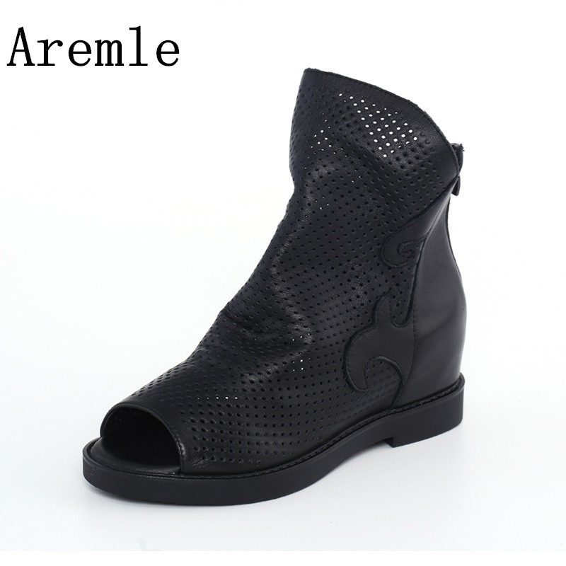 2018 spring and summer new leather cave boots increased fish head toe leather Roman sandals spring and summer 2018 new chinese
