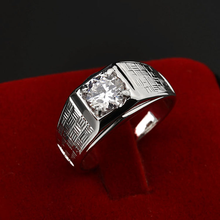 PhoenRing Perfect fashion Engraved lines AAA level Inlaid CZ zircon charm show off wedding Party male rings