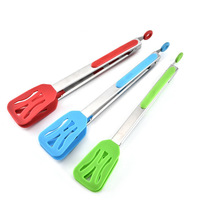 hot sell 50pcs/lot 12 inch BBQ Tongs Lock Design Barbecue Clip Clamp Stainless Steel Food Tongs Silicone Cover Handle