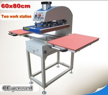 60x80cm Large size pneumatic two work station heat press machine sublimation heat transfer T-shirt printing machine цена и фото