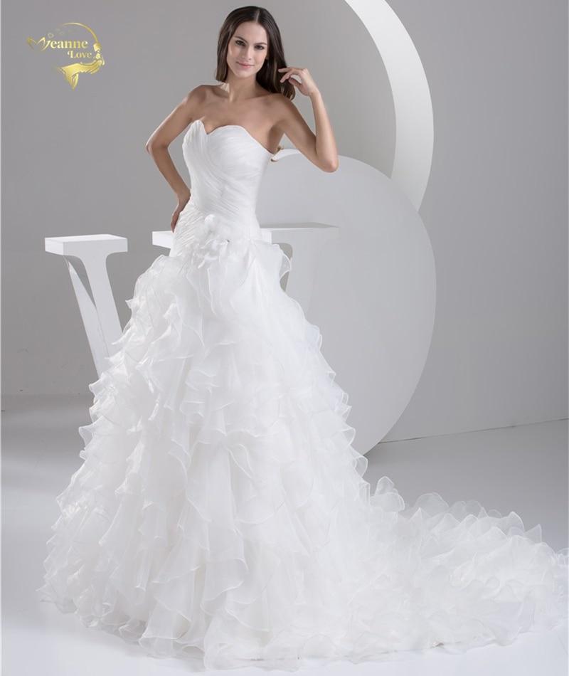 2016 Vit Louisvuigon Vestido De Noiva Robe De Mariage Brudklänningar - Bröllopsklänningar - Foto 3