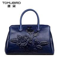 Genuine leather bag free delivery Women bag Ethnic retro embossed handbag Originality Shoulder Messenger Bag