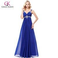 Grace Karin 2017 Chiffon Long Evening Dress Abendkleid Purple Blue Grey Sleeveless Dress Beading Evening Gown