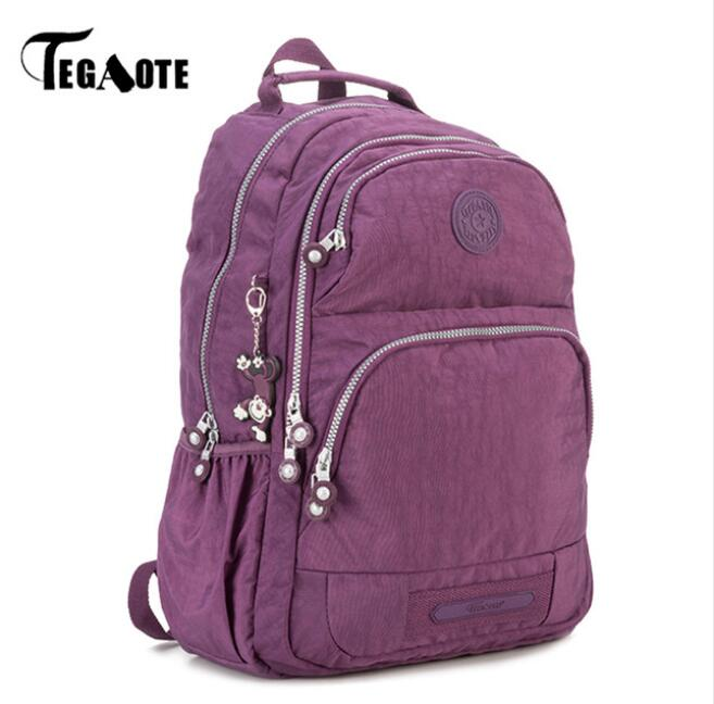 TEGAOTE School Backpack for Teenage Girls Nylon Women Mochila Feminine Backpack Female Solid  Fashion Casual Laptop Bagpack аксессуар защитная пленка sony xperia z5 premium aksberry матовая