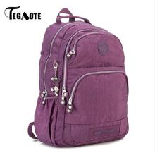 TEGAOTE School Backpack for Teenage Girls Nylon Women Mochila Feminine Backpack Female Solid  Fashion Casual Laptop Bagpack