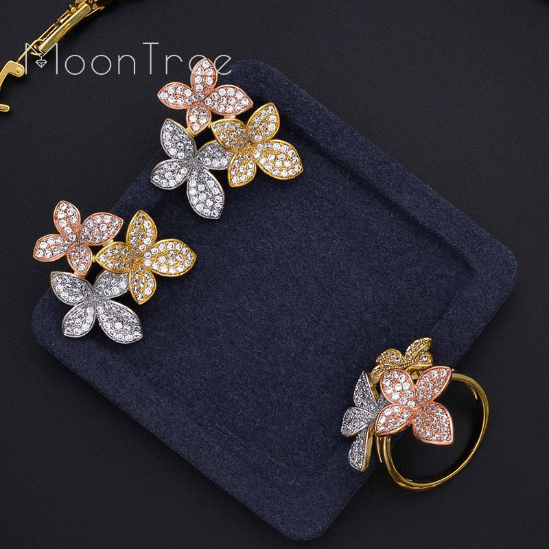 MoonTree Luxury Delicate Flower Full AAA Cubic Zirconia 3 Tone Copper Women Wedding Bridal Necklace Bracelet Earring Ring Set