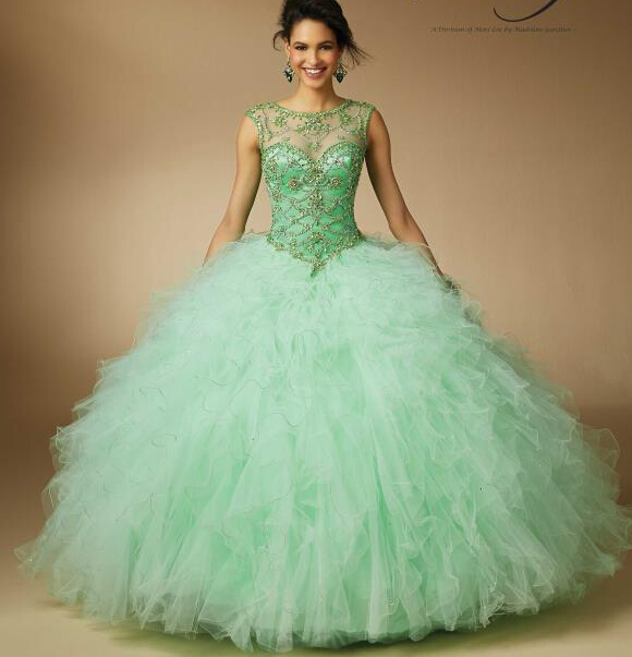 Summer 2016 Sweet 16 Year Pink Mint Green Color Sheer Quinceanera Dresses Lace Up Beaded Top Ruffles Layered Prom Gown In From