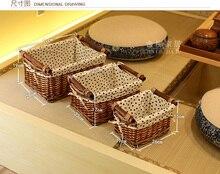 Fashion desktop rustic willow storage basket fabric rattan box miscellaneously toy small white