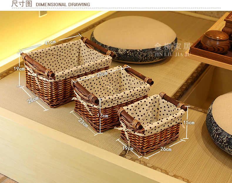 Moda caixa de armazenamento de desktop caixa de tecido rústico cesta de armazenamento do salgueiro rattan miscellaneously brinquedo pequena caixa branca