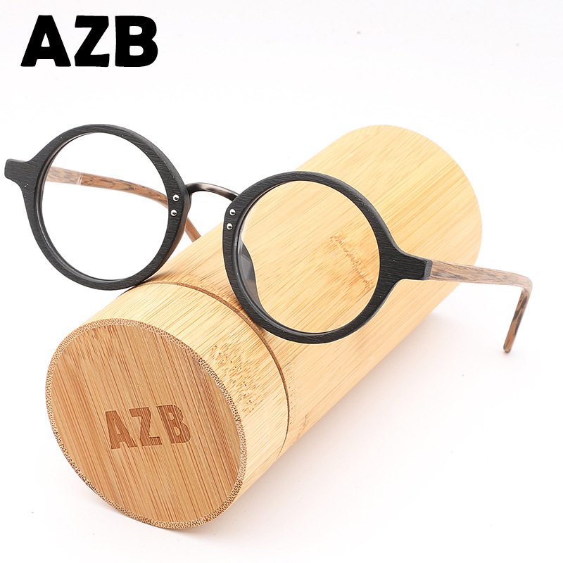 AZB High Quality Wooden Eyewear Frames Spectacle Retro Round Clear Glasses for Women Men Wood Optical Glasses Frame