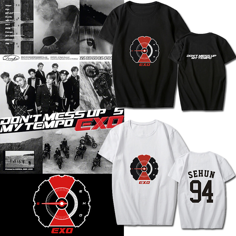 WXCTEAM Kpop EXO 5th Don't Mess Up My Tempo BAEKHYUN CHANYEOL DO Album Cardigan Shirts Loose Tshirt T Shirt Tops T-shirt