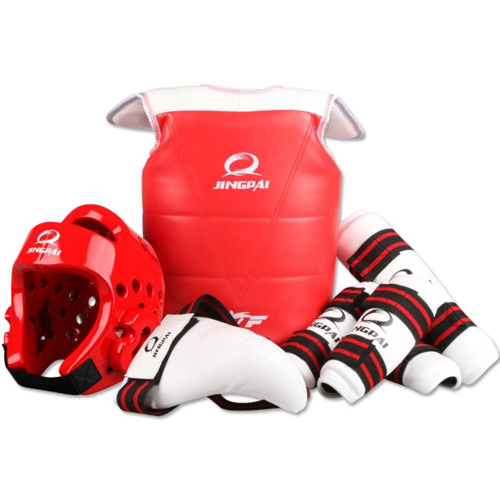 High Quality WTF approved Taekwondo protectors 5pcs chest gear shin arm guards Child karate headgear MMA