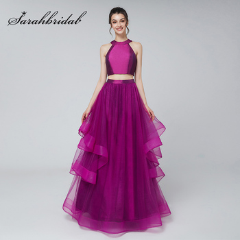 New Arrival 2 Pieces Crop Top Evening Dresses with Tulle Ruffles Skirt Long A-line O-Neck Zipper Back Prom Party Gowns L3172 vensanac 2018 o neck metal leaf sash long a line evening dresses vintage tank lace crystals party tulle prom gowns