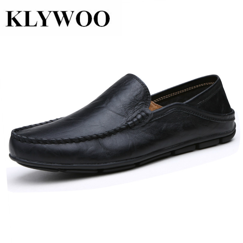 KLYWOO Men Loafers Shoes Spring Autumn Genuine Leather Breathable Fashion Casual Slip-on Men Driving Shoes Soft Moccasins цена и фото