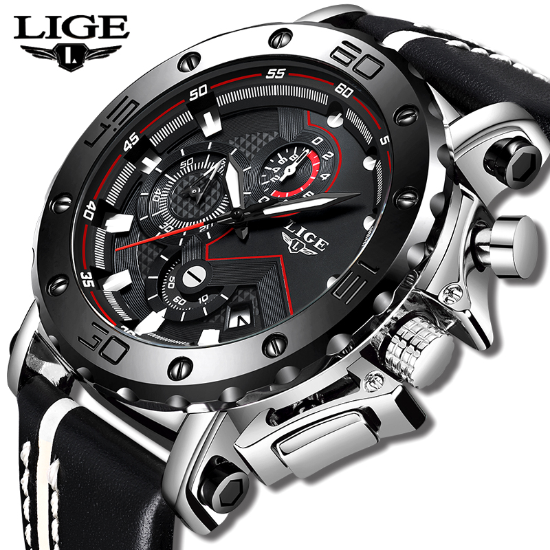 Neue Mode Uhr Männer LIGE Top Marke Sport Uhren Herren Quarz Uhr Mann Casual Militärische Wasserdichte Armbanduhr Relogio Masculino-in Quarz-Uhren aus Uhren bei  Gruppe 1