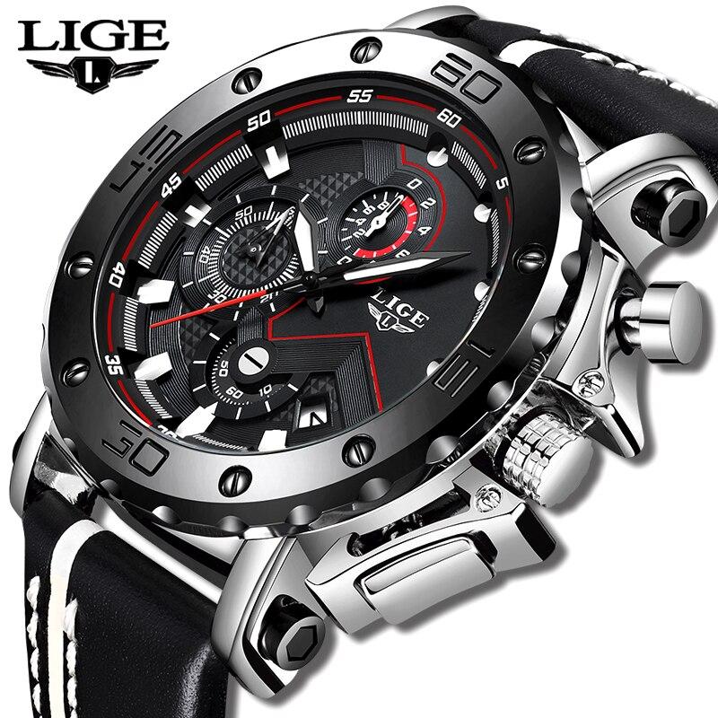Saatler'ten Kuvars Saatler'de Yeni moda İzle erkekler LIGE üst marka spor saatler erkek kuvars saat adam rahat askeri su geçirmez kol saati Relogio Masculino'da  Grup 1