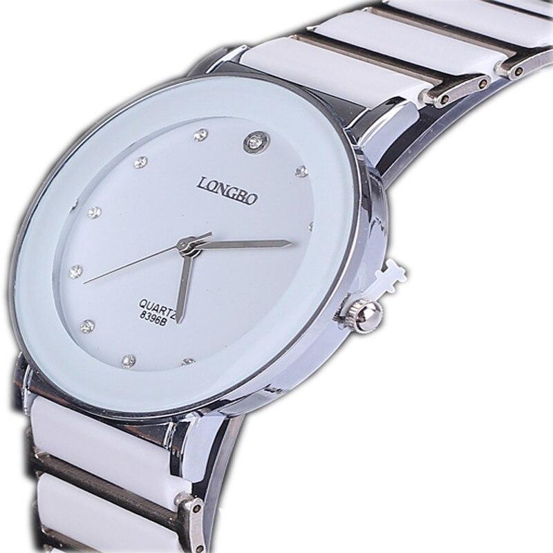 Longbo Роскошные Керамика водостойкий часы спортивного Для женщин наручные часы, Бесплатная доставка Топ со стразами Сталь леди часы 8396