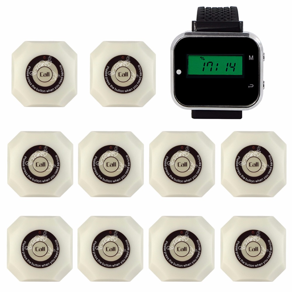 433.92MHz Wireless Restaurant Hotel Calling System with Watch Wrist Receiver +10pcs White Call Button Pager F3293B wireless restaurant calling pager system 433 92mhz wireless guest call bell service ce pass 1 display 4 watch 40 call button