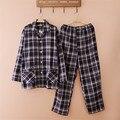 Хлопок Пижамы Установить Мужчины Весной И Осенью Плед С Длинным Рукавом Кардиган Толстые Пижамы Мужчины Lounge Пижамы Установить