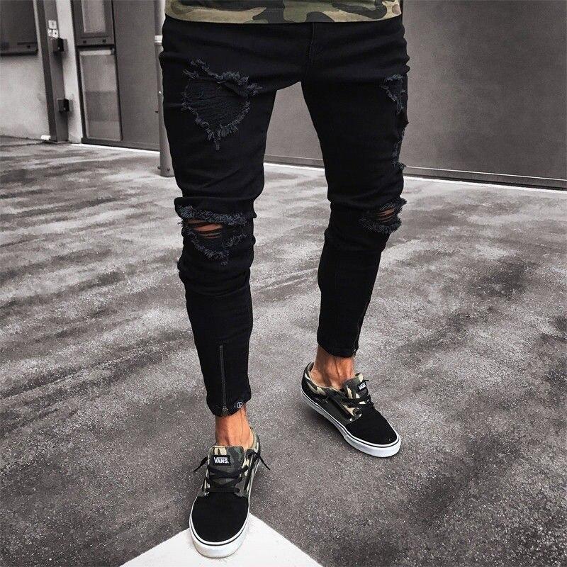 Retro Hole Beggar Jeans Men Distressed Skinny Jeans Homme Fashion 3XL Bottom Zipper Denim Harajuku Streetewar Full Ripped Pants