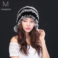 2016 Hot Women Rex Rabbit Fur Hat With Fur Ball Real Fur Winter Fashion Hats Hand