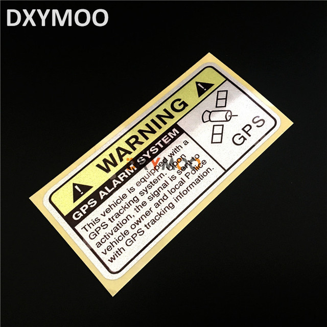 2pcs warning gps alarm system car window stickers funny anti theft automible phone vinyl decals