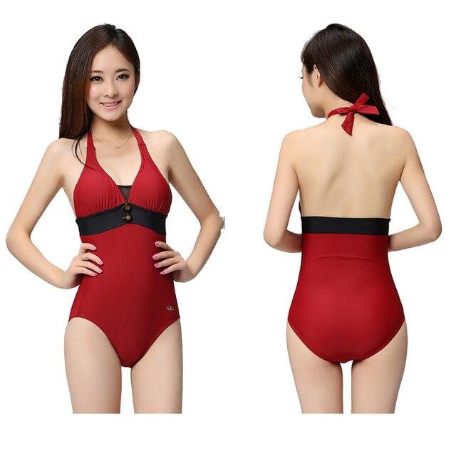 771404cc5f1c € 10.71 21% de DESCUENTO|Modesto estilo coreano de la escuela a los niños  jóvenes las mujeres atractivas piezas Vintage trajes de baño Push Up ...