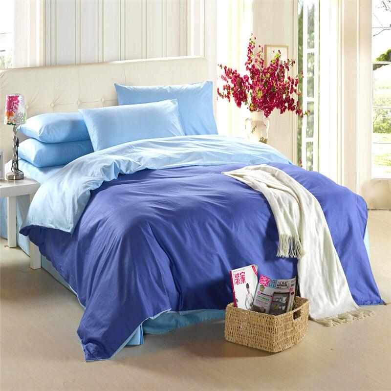 royal bleu ensemble de literie king size queen couette doona de couette couverture lit double feuille drap couvre lit linge solide couleur 100 coton dans