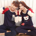 2016 Spring Fall Winter 100% Cotton Couple Pajamas Set of & Trousers Lover Sleepwear Men & Lady Casual Home Clothing