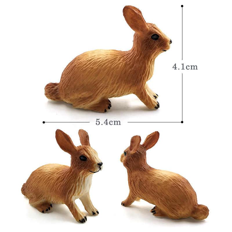 Моделирование маленькая лиса заяц Кролик, белка лес животное модель Фигурка пластиковое украшение обучающая игрушка подарочные Фигурки для детей