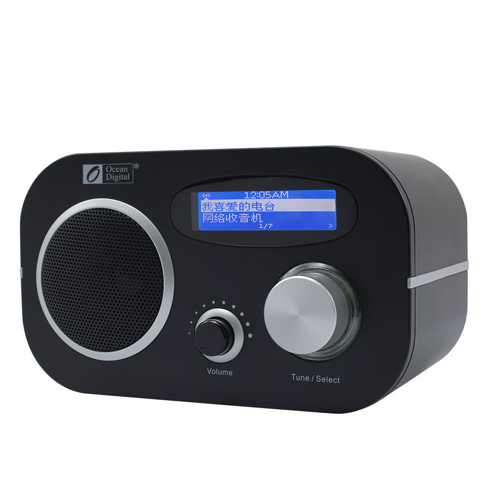 WiFi + FM + UPnP Radio Océan Numérique WR-80 Multi-langue Menu Internet WiFi Bluetooth FM Nuage Radio LCD double Alarme FM Radio