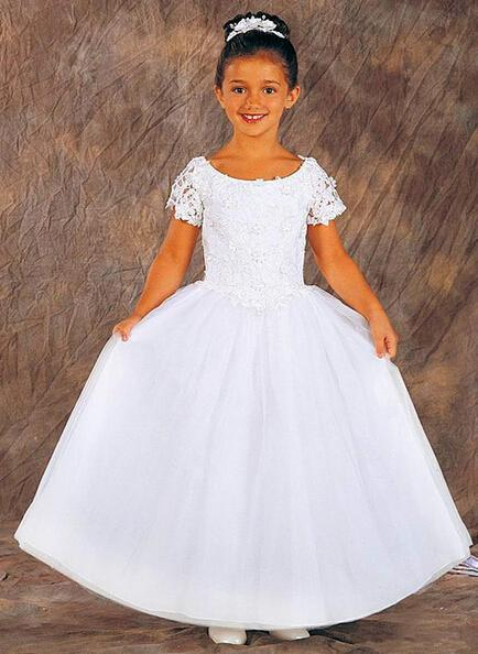 free shipping for weddings 2015 first communion little   girl   christmas pageant ball gown cap sleeve white lace   flower     girl     dress
