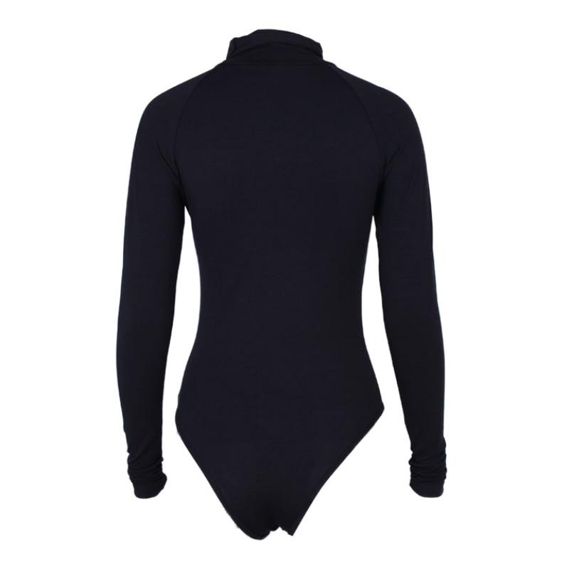 Cotton Long Sleeve High Neck Skinny Bodysuit 2018 Autumn Winter Women Black Gray Solid Sexy Body Suit