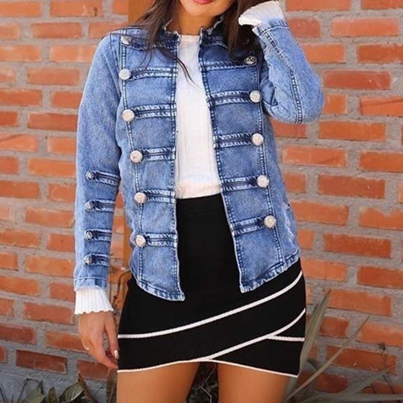 Женский двубортный стимпанк готический панк джинсовая куртка пальто светло-голубой