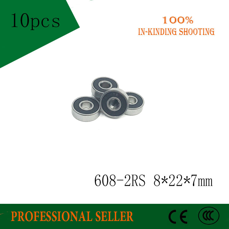 608 RS 10PCS 608-2RS 8*22*7mm Skateboard 608 2RS Ball Bearings Miniature 608-2RS Bearing 608RS 8X22X7mm все цены