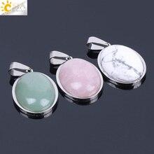 CSJA Natural Gem Stone Beads Egg Shape Necklaces Pendants Pink Quartz Green Aventurine Lapis Lazuli Tiger Eye Reiki Jewelry F133