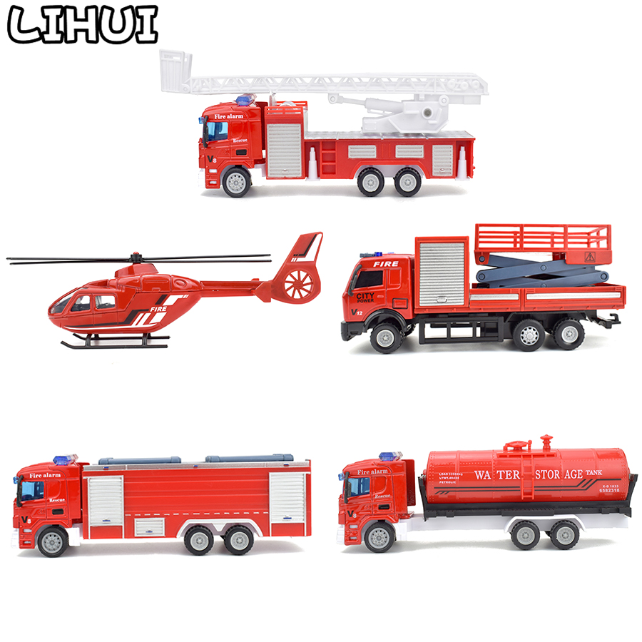 5 Kinds Alloy Fire Truck Toys For Children Diecast Inertial Pull Back Vehicles Aircraft Car Toy Model Educational Gifts For Kids