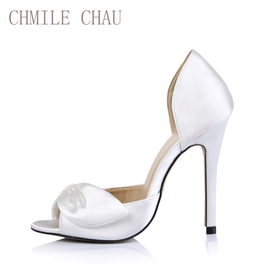 Detail Feedback Questions about CHMILE CHAU Ivory Satin Sexy Bridal Party  Shoe Women Peep Toe Stiletto Super High Heel Bowknot Lady Pumps Zapatos  Mujer ... 081af5b5df14