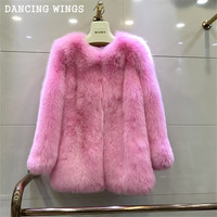 Catwalk Style Women's Whole Skin Natural Real Fox Fur Coats Female Pink Winter Fur Jackets Outerwear