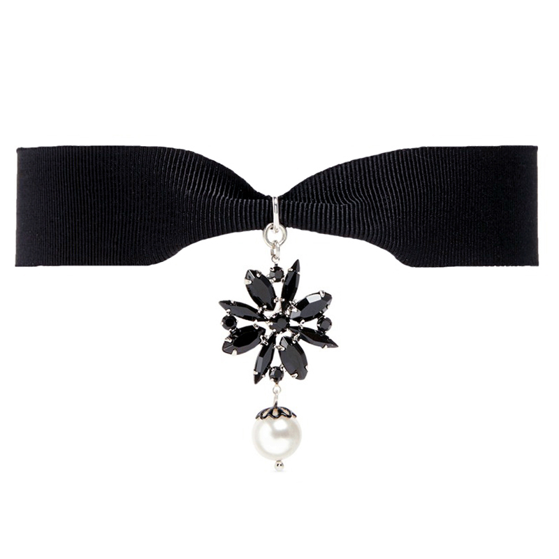 Acrylic flower Choker Necklace 2017 Women Girl Fashion Jewelry Accessories Black Cloth Chain Choker Necklace