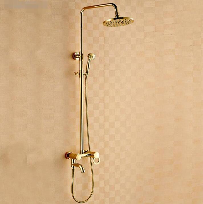 Dofaso Ouro Luxo Latão Bath torneira do chuveiro de ouro define noble ouro cachoeira chuva Bath & Torneira Do Chuveiro cabeça e Banheira mixer