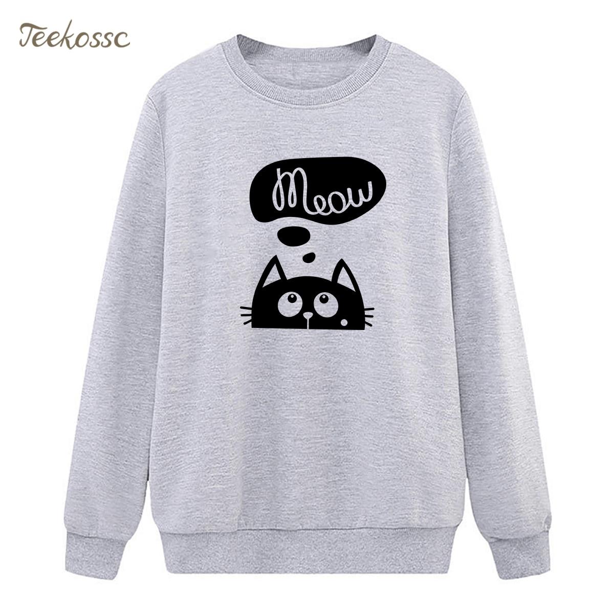 Meow Cat Kawaii Sweatshirt Fuuny Kittyle Hoodie 2018 Hipster Winter Autumn Women Lady Pullover Fleece Loose Animal Streetwear