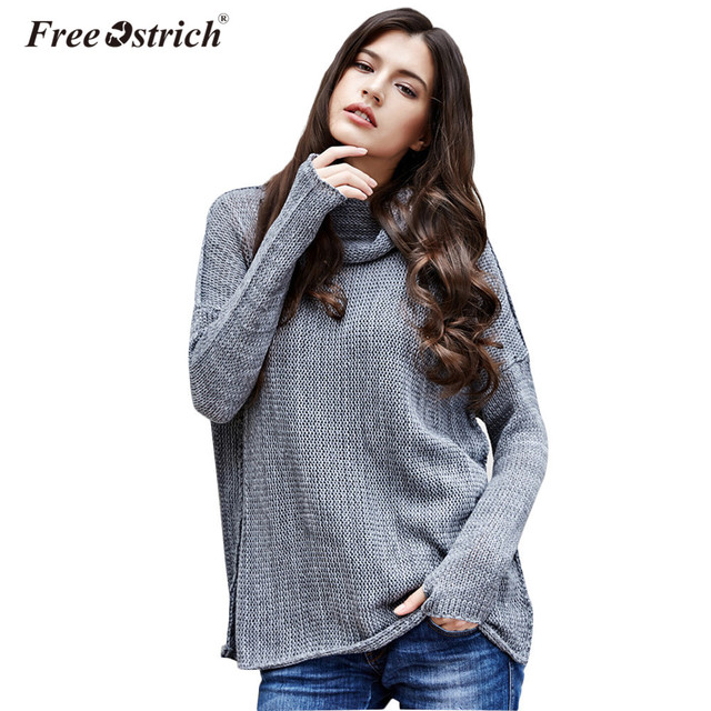 078f41f5b Free Ostrich Autumn Winter 2019 Women Sweaters Long Sleeve Solid Turtleneck  Casual Warm Pullover Pull Knitted