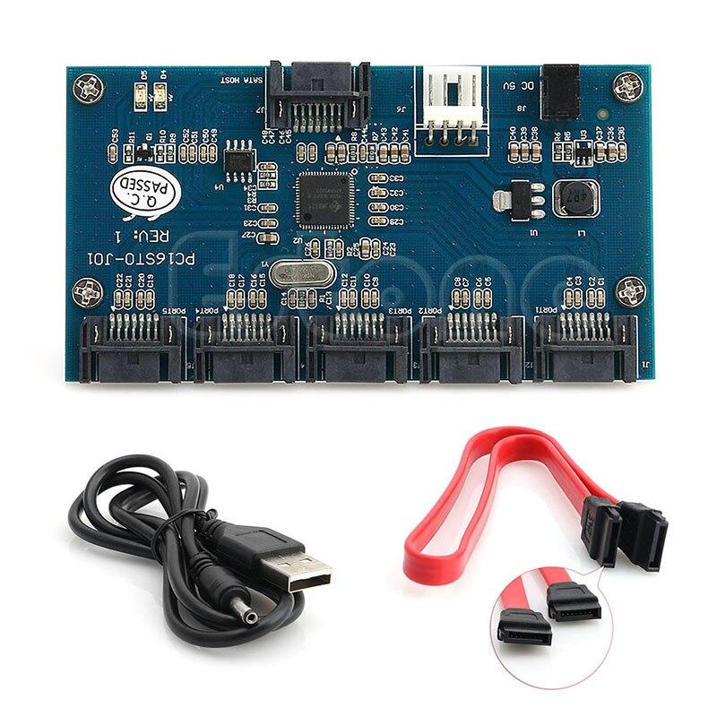 Adapter Card SATA 1 to SATAII/SATA2 5 Port Multiplier Converter Riser SATA 3.0 Card JMB321 Chip Adapter Card