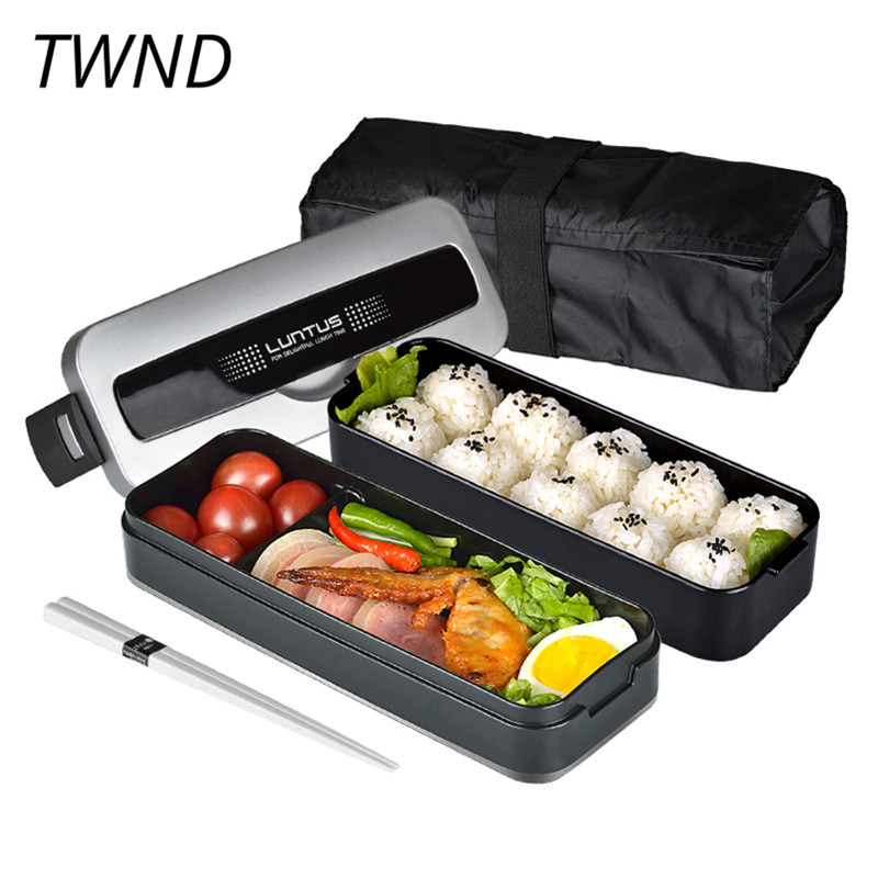 Double men bento boxes PP microwavable plastic nylon rice bags dinnerware sets 23