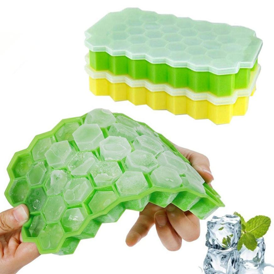 2Pcs Honeycomb Shape Ice Cube 37 Cubes Ice Tray Ice Cube Mold Storage Containers MAY28