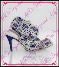 Aidocrystal luxury flowers rhinestone slingback sandals summer shoes wholesale lady italian party shoes and bags set