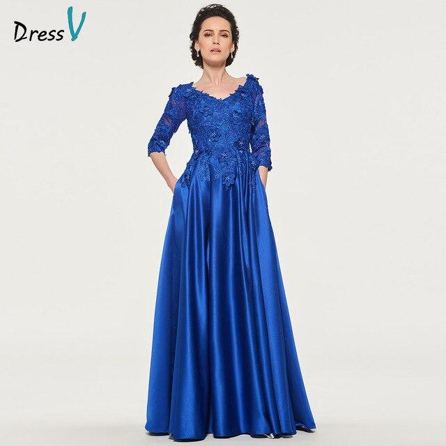 14d06fd5ec07 Dressv dark royal blue mother of bride dress v neck 3/4 sleeves appliques button  lace long mother evening gown dresses custom