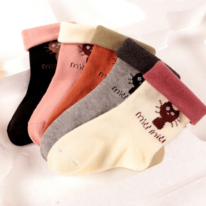 5 Pairs/Lot Autumn And Winter Children Socks Cotton Baby Socks Toddler Girls Calcetines Cat Flanging Solid Anti-Slip Floor Socks