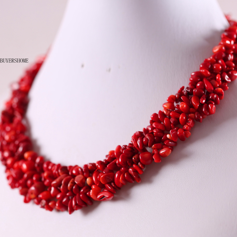 "Envío Gratis Joyería 4X8 MM Natural Mar Rojo Coral Chip Beads Nylon Line Weave Collar 18 ""1 Unids E033"